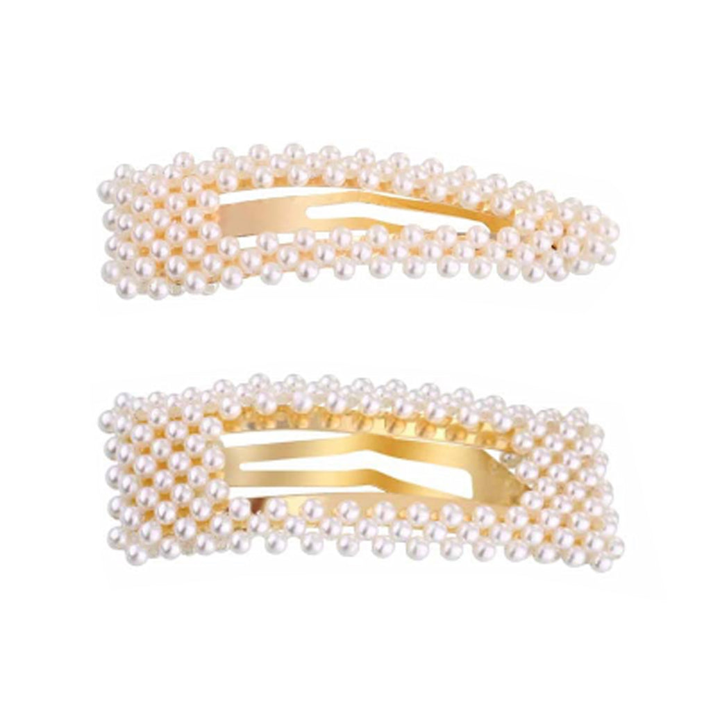 West Carolina Chunky Faux Pearl Geometric Hair Clips for Women Fashion Vintage Hairpins Buckle Set of two Set Gold Alloy Design