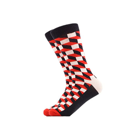 West Carolina 3D Cube Crew Socks Red Illusion Geometric Pattern Fashion Cool Unisex
