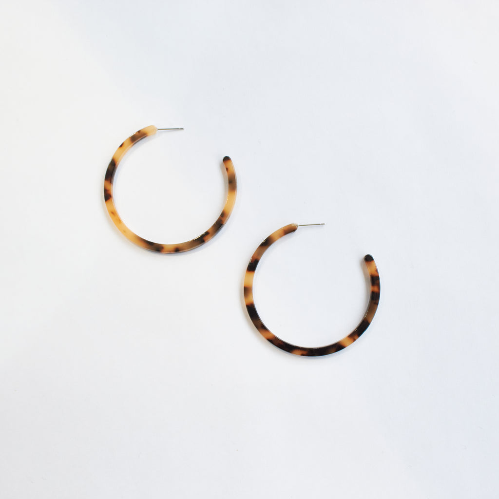 west carolina tortoiseshell hoop earrings bold statement accessories for women and girls in brown and black