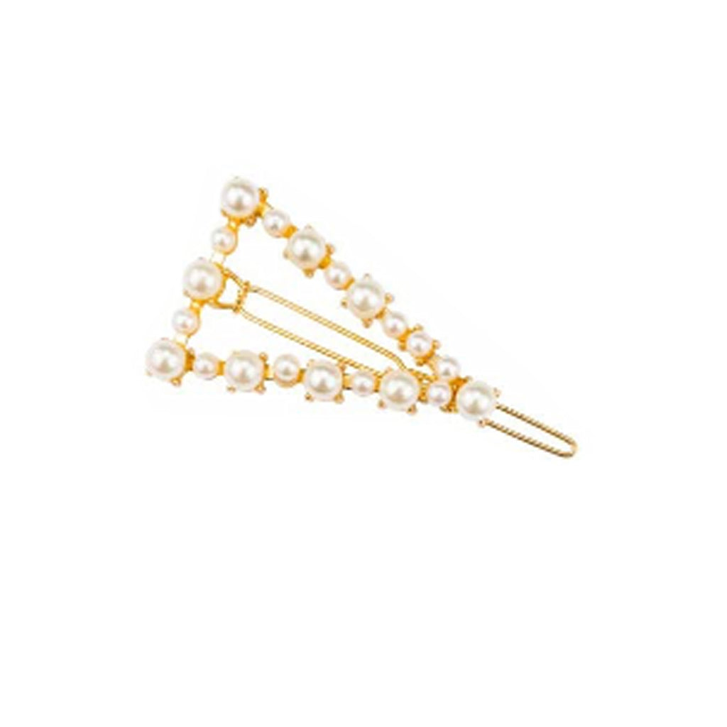 West Carolina Mini Faux Pearl Triangle Embellished Hair Clips for Women Fashion Vintage Hairpins Single Set Gold Alloy Design Rhinestone