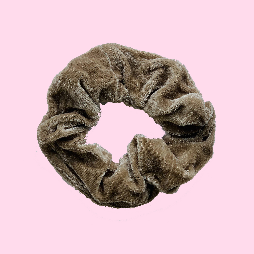 West Carolina Velvet Wood Brown Scrunchies Hair Accessories Fashion Comfortable Easy Wear Girls Women Hair Tie