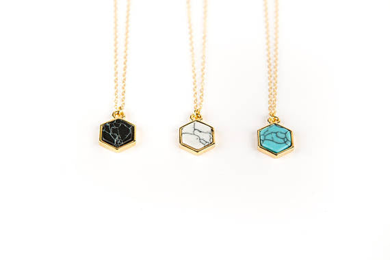 Large hexagon necklace