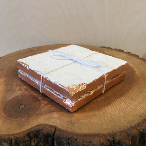 Tumbled Marble & Rose Gold Coaster Set