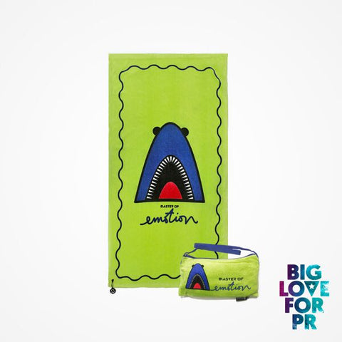 Biglove Cotton Beach Towel and Bag - Shark / Green