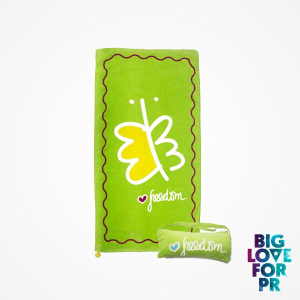 Biglove Cotton Beach Towel and Bag - Freedom / Green