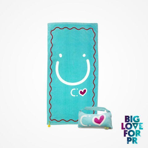 Biglove Cotton Beach Towel and Bag - Happiness / Blue