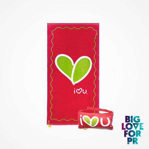 Biglove Cotton Beach Towel and Bag - Love / Red