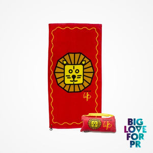 Biglove Cotton Beach Towel and Bag - Lion / Red