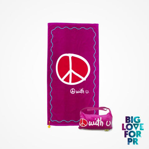 Biglove Cotton Beach Towel and Bag - Peace / Purple