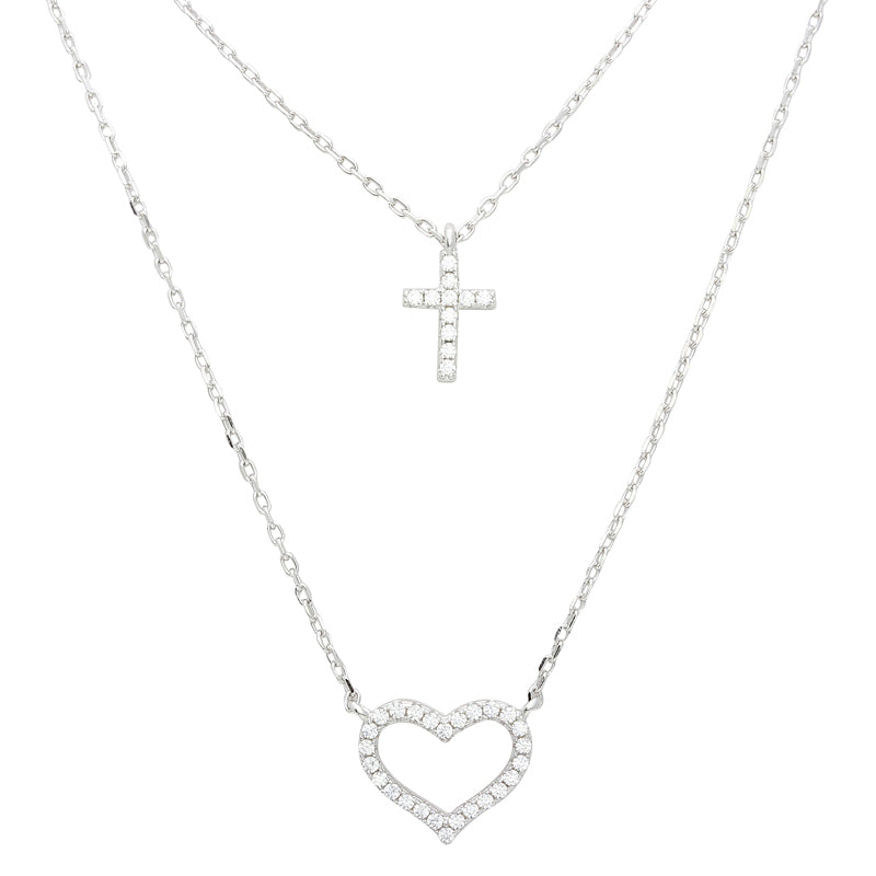 Cross and Heart 2 Row Fashion Inspirational Necklace