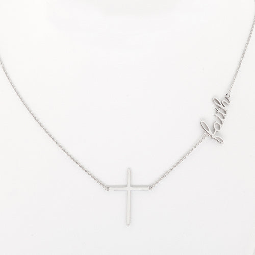 Cross  and  Faith Fashion Inspirational Necklace