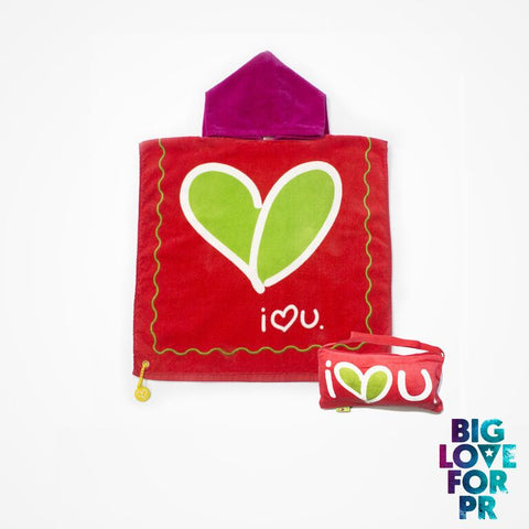 Biglove Beach Towel with Hoodie & Bag - Love / Red