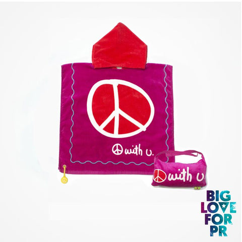 Biglove Beach Towel with Hoodie & Bag - Peace / Purple