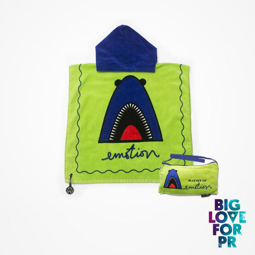 Biglove Beach Towel with Hoodie & Bag - Shark / Green