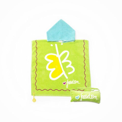 Biglove Beach Towel with Hoodie & Bag - Freedom / Green