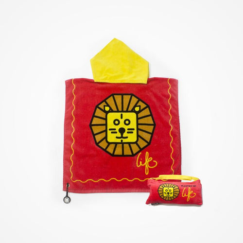 Biglove Beach Towel with Hoodie & Bag - Lion / Red