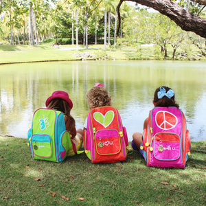 Embroidered Small Backpack for Girls Peace | Pink - biglove