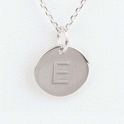 Mini Initials Charm Necklace - Letter E
