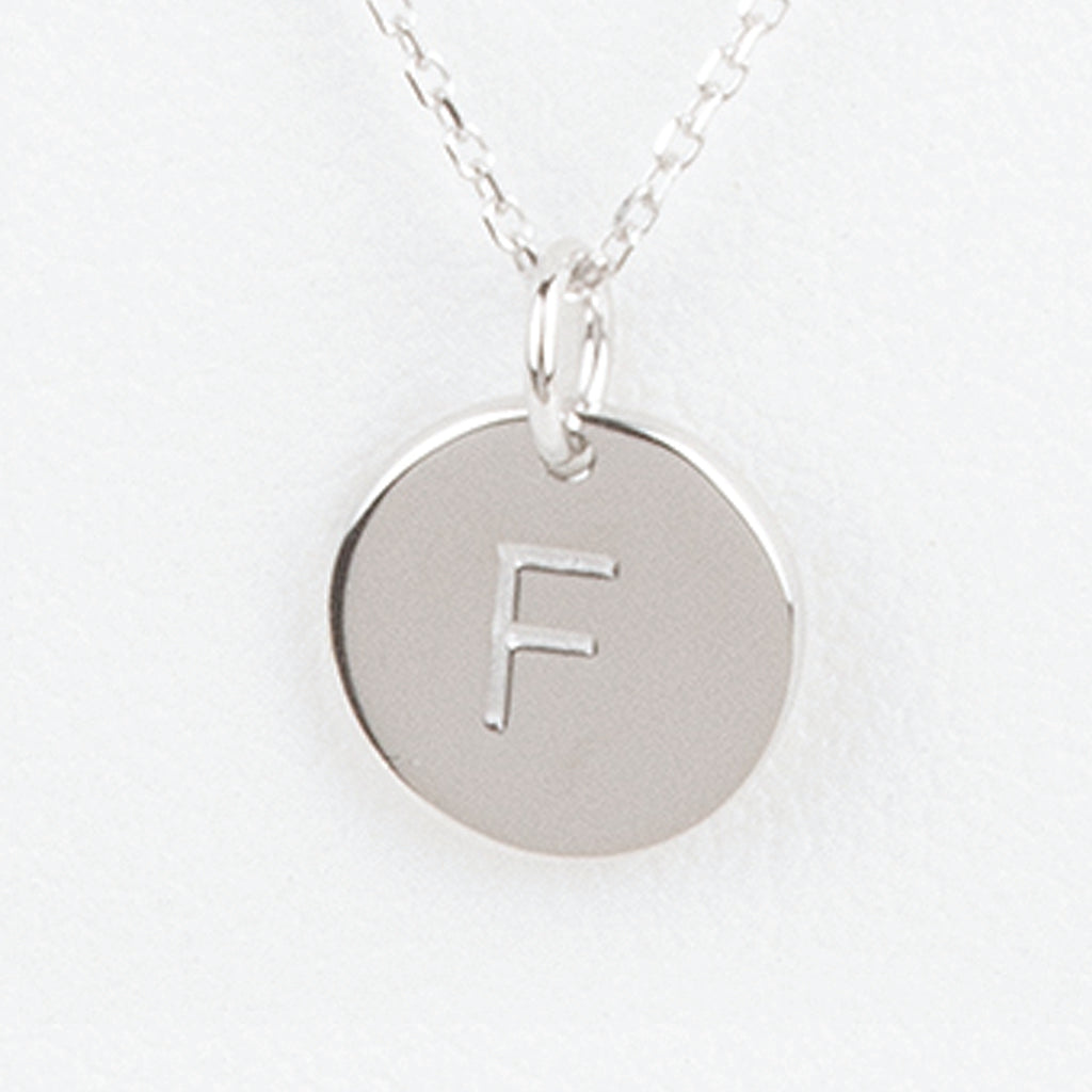 Mini Initials Charm Necklace - Letter F