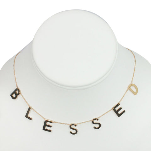 "Gold Plated Stainless Steel ""BLESSED"" Necklace"