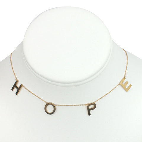 "Gold Plated Stainless Steel ""HOPE"" Necklace"