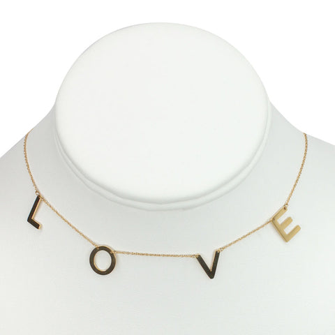 "Gold Plated Stainless Steel ""Love"" Necklace"