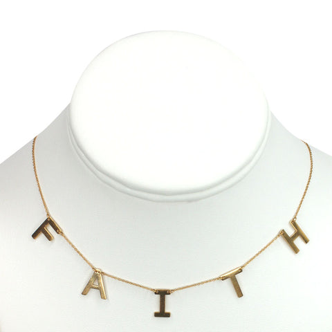 "Gold Plated Stainless Steel ""FAITH"" Necklace"