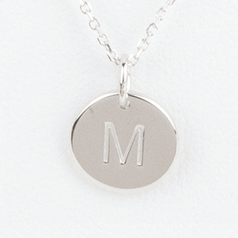 Mini Initials Charm Necklace - Letter M