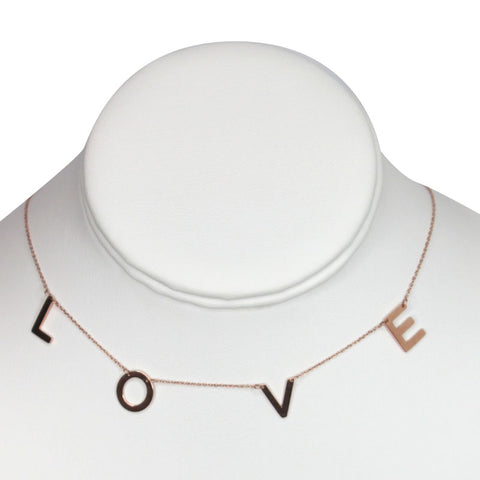 "Rose Gold Plated Stainless Steel ""Love"" Necklace"