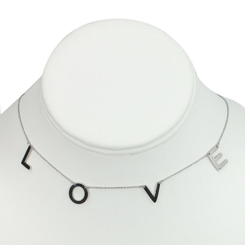"Silver Plated Stainless Steel ""Love"" Necklace"