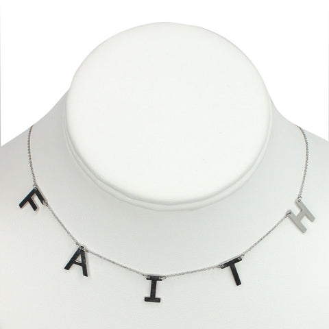 "Silver Plated Stainless Steel ""FAITH"" Necklace"