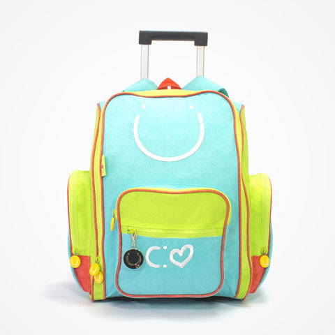 Embroidered Rolling Backpack for Girls Happiness | Blue - biglove