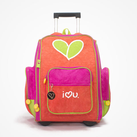 Embroidered Rolling Backpack for Girls - biglove