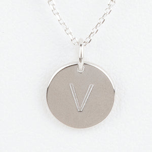 Mini Initials Charm Necklace - Letter V