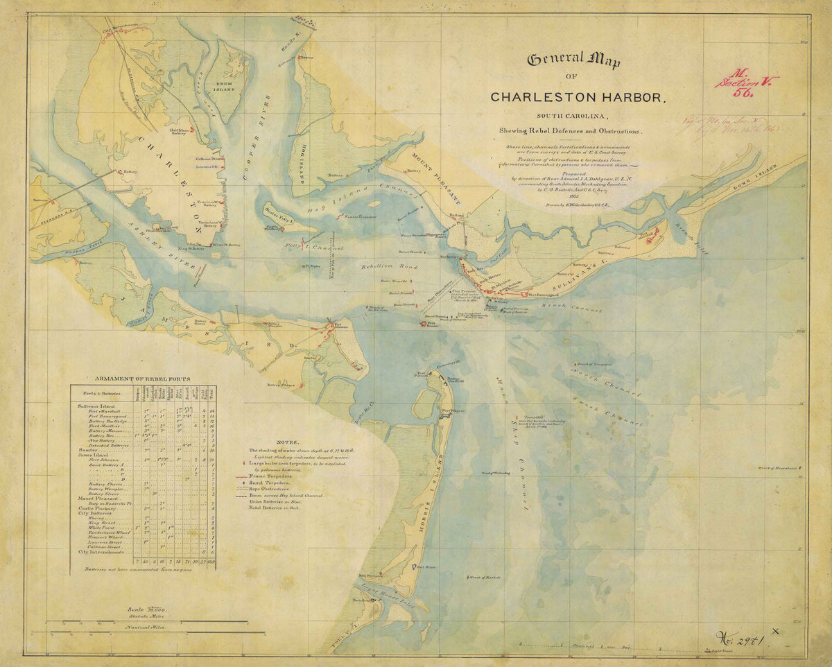 1865 General Map of Charleston Harbor