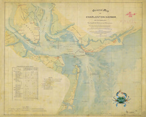 1865 General Map of Charleston Harbor (with crab artwork)