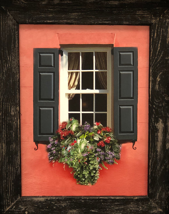 Charleston Windowboxes  Pink Wall with Black Shutters