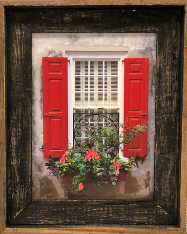 Charleston Windowboxes:  Red Shutters with Ironworks