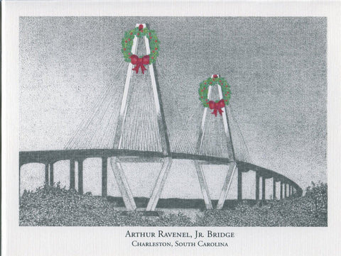 Ravenel Bridge w/ Wreath Christmas Card