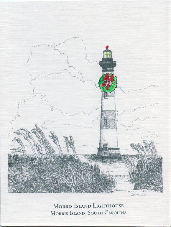 Morris Island Lighthouse Christmas Card