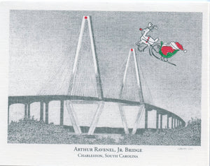 Santa over the Ravenel Bridge