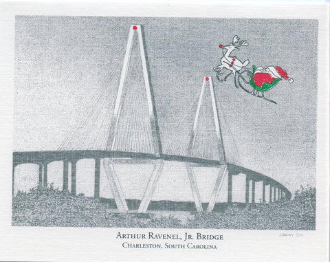 Ravenel Bridge w/Santa Christmas Card