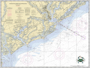 Charleston Harbor Nautical Chart with Crab