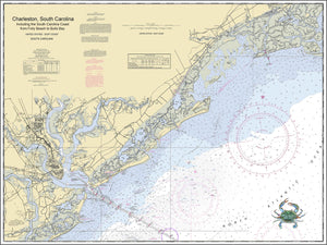 Nautical Chart of Charleston Harbor to Bulls Bay with crab image