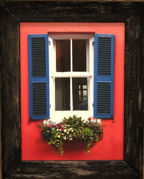 Charleston Windowboxes:  Pink Wall with Blue Shutters