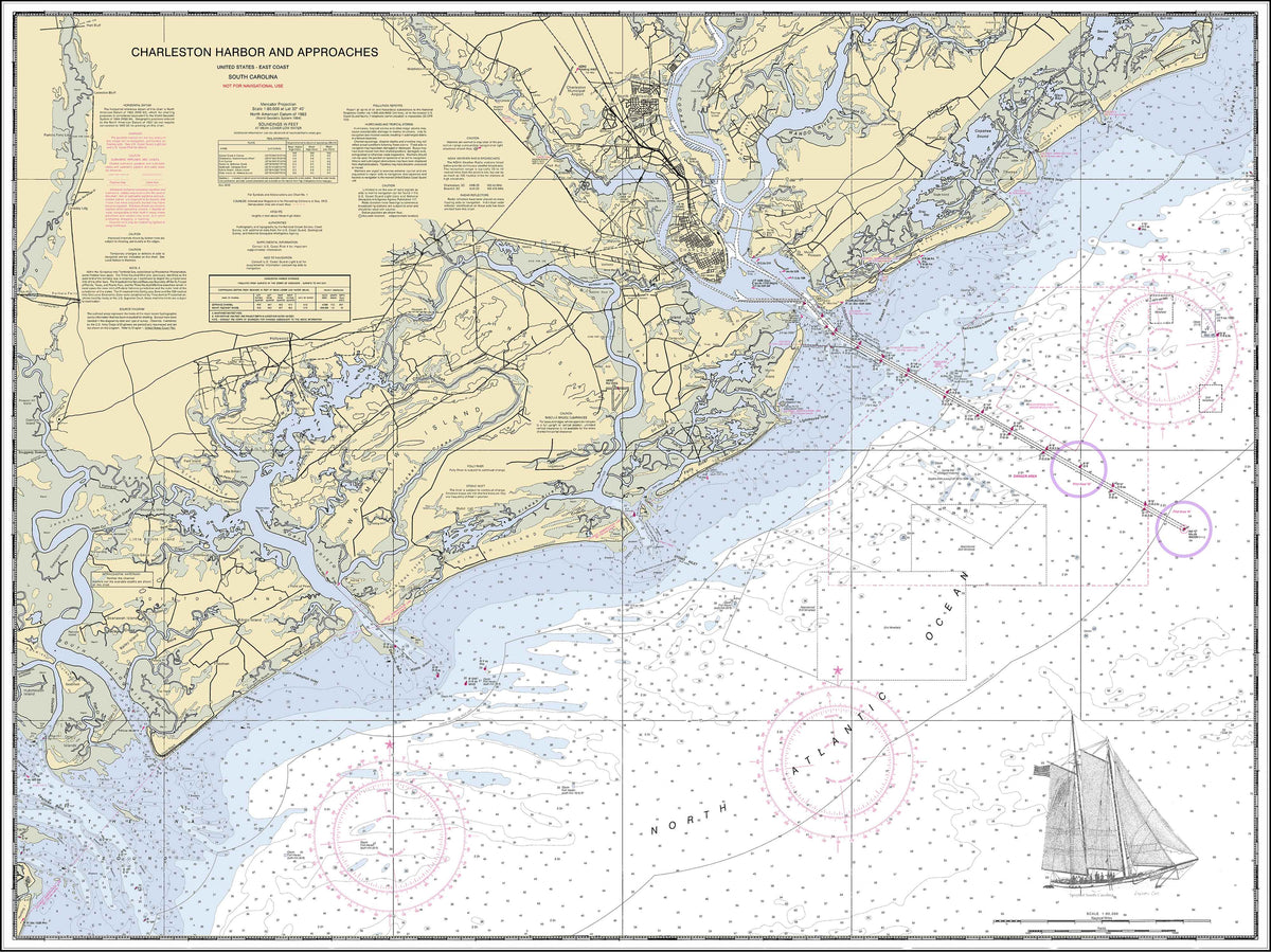 Charleston Harbor Nautical Chart with Spirit of South Carolina