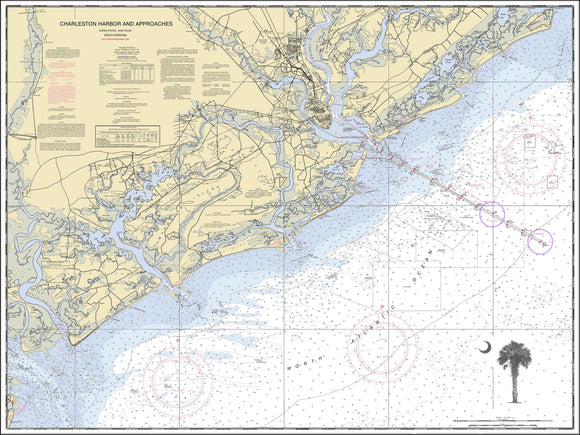 Charleston Harbor Nautical Chart with Palmetto and Crescent Moon