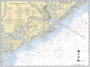 Charleston Harbor Nautical Chart with Lighthouse