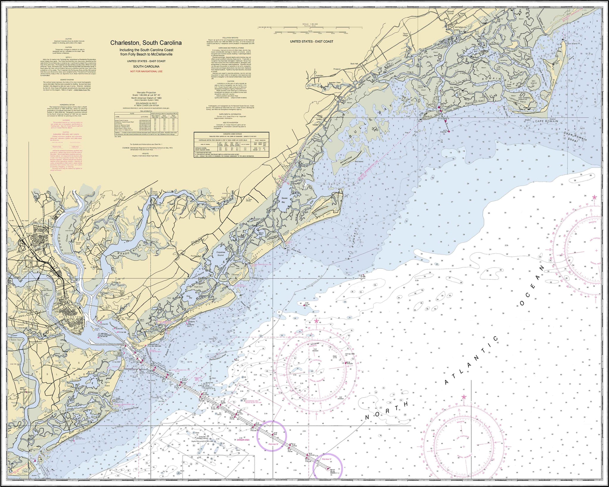 Nautical Chart - Folly Beach to McClellanville