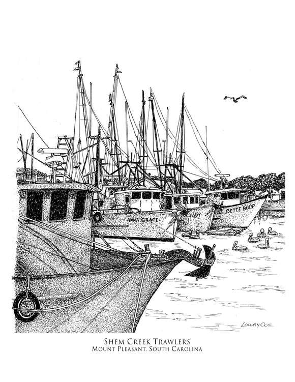 Shem Creek Trawlers Print
